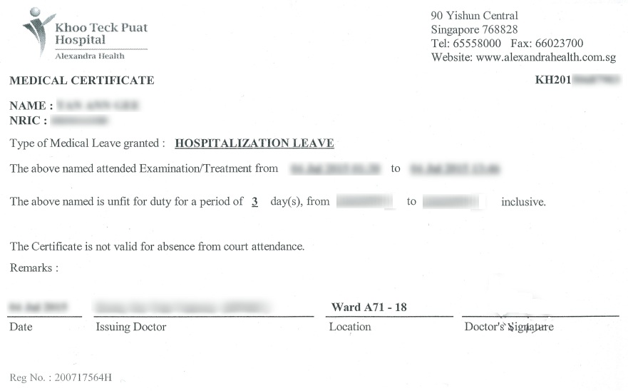 leave supporting document medical certificate